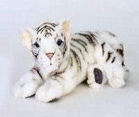 Белый тигренок лежащий (26 см), Hansa (Ханса)