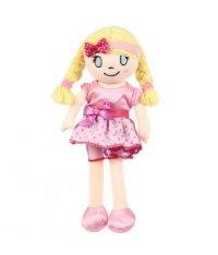 Кукла мягконабивная, 30 см, в розовом платье в горошек, Игруша