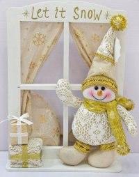 """Украшение """"снеговик"""", золотистое (33,5 см), Новогодняя сказка"""