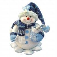 Снеговик на снежинке с мешком ягод (26 см), арт. е60123, Snowmen