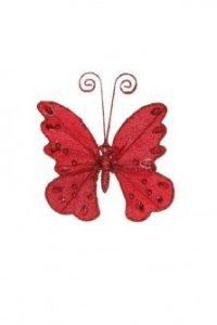 """Украшение елочное """"бабочка на прищепке"""", красное, Christmas House"""