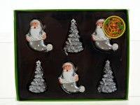 """Украшение подвесное """"зимняя сказка"""", дед мороз и елочка, серебристый (6 штук), Monte Christmas"""