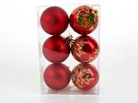 """Набор шаров новогодних """"золотая ветка"""" красные, диаметр 6 см (6 штук), Monte Christmas"""