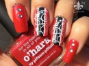 Red x Black Stripes Stamping Nail Art