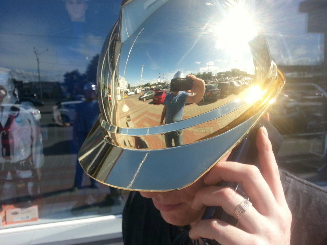 Эксклюзив! Зеркальные каски MSA V-Gard® gold/silver