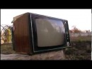 The TV was smashed with a sledge hammer\\ SLOW MOTION