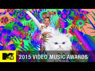 VMA 2015: Miley Cyrus Rides Through A Rainbow Jungle | MTV