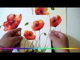 Акварель - рисуем цветы полевые Маки