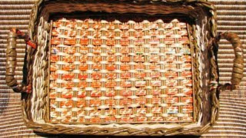 ▬► Плетение из газет квадратного дна Часть1 Bottom of the basket weaving