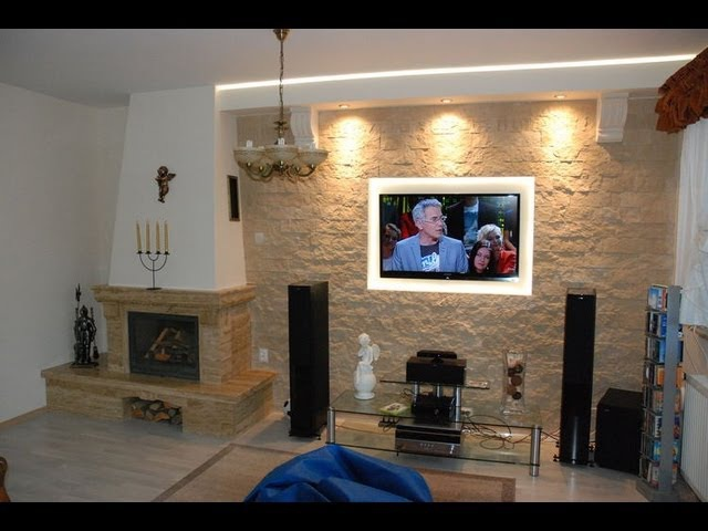 Ściana TV w kamieniu ozdobnym, dekoracyjnym - TV Wand in the stone wall decorative ornamental