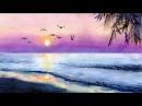 Как нарисовать акварелью красивый закат How to paint sunset in watercolor