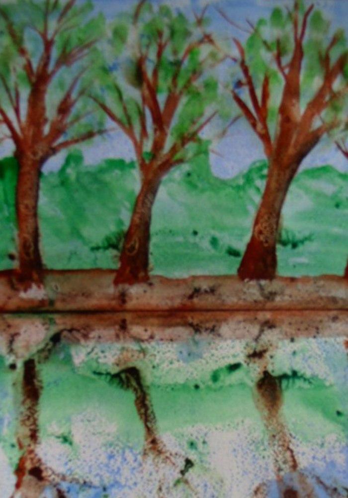 Картинки монотипия пейзаж весна