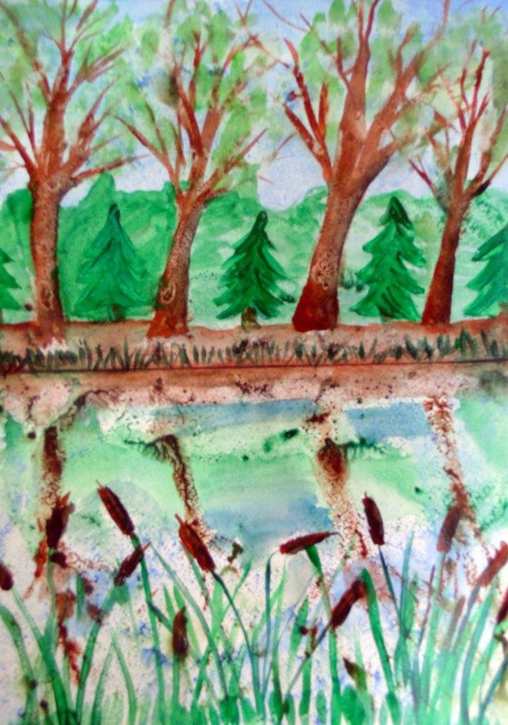 Картинки монотипия пейзаж весна, днем
