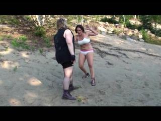 Girls Wrestling in the Beach