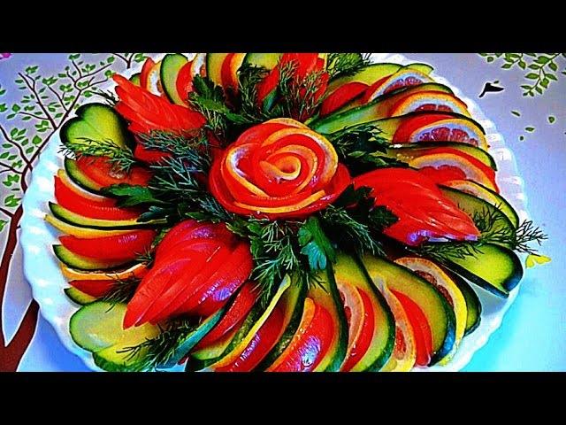 Как красиво нарезать огурцы и помидоры! Украшения тарелки! Мног...