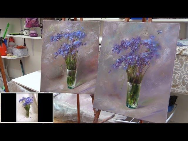Васильки. Мастер-класс на двух холстах. Master class on two canvases. Wildflowers