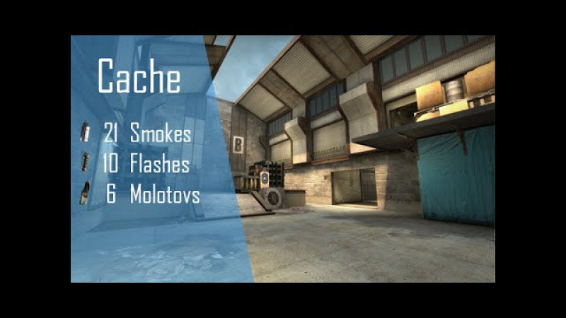 CS:GO Nade Spots Ep 4 - Cache, 21 Smokes, 10 Flashes and 6 Molotovs - Quick Version