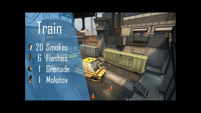 CS:GO Nade Spots Ep 7 - New Train 20 Smokes, 6 Flashes, 1 Grenade and 1 Molotov - Quick Version
