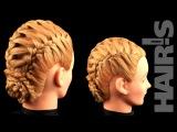 Учимся делать прическу из трех кос с дополнительными прядями - видеоурок (мастер...