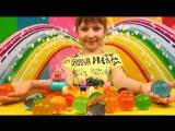 Anna Kids - Выращиваем в воде морскую звезду и большие шары Орбиз Свинка Пеппа и папа Свин играют Or