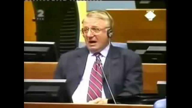 Выступление сербского политика Воислава Шешеля в Гааге