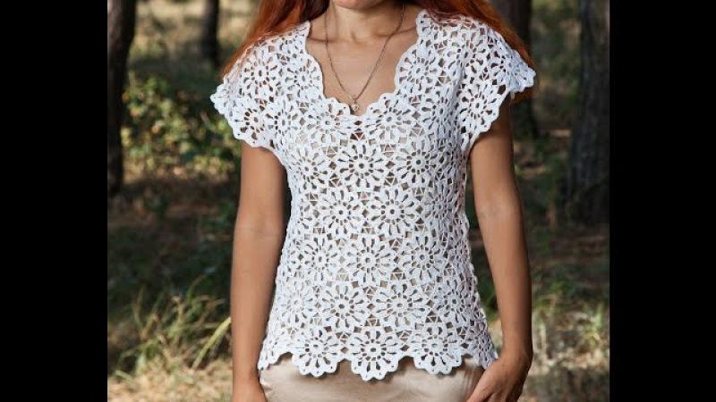 Как связать блузку.Кофточка летняя - 1 часть - Crochet blouse summer - вязание крючком из мотивов