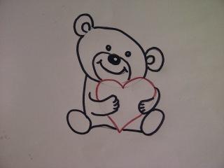 Как очень просто нарисовать плюшевого медведя, медвежонка  мишку Тедди с сердцем