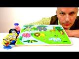 Видео для детей. Игрушки Миньоны и Свинка Пеппа. Животные Африки