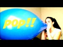 Pretty Woman Blows up Pops LARGE Blue Balloon Over Inflate Blow to Pop