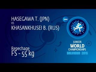 Repechage FS - 55 kg: B. KHASANKHUSEI (RUS) df. T. HASEGAWA (JPN), 9-8
