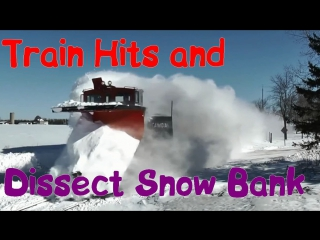 Train Hits and Dissect Snow Bank | Поезда Рассекают Снежные Сугробы