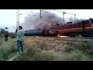 Aftermath Of a Railway Accident! Bike Burns away A Locomotive!