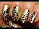 Nail Art. Gold and Black Floral Design.