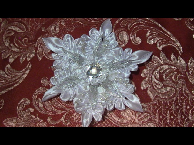DIY Crafts Christmas decorations Снежинка Канзаши Christmas Snowflakes Kanzashi Tatiana Vasyliuk