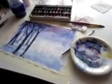 Рисование акварелью. Волшебный лес