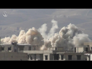 Сирия.Ми-25 ВВС САР наносит бомбовый удар по позициям боевиков в Дарайе..№1.