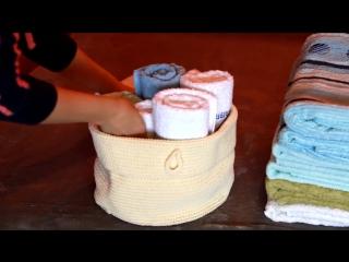 Как сложить полотенца, хранение