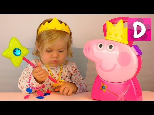 ✿ Свинка Пеппа Принцесса. Кейс. Примеряем украшения. Peppa Pig Princess Case unboxing