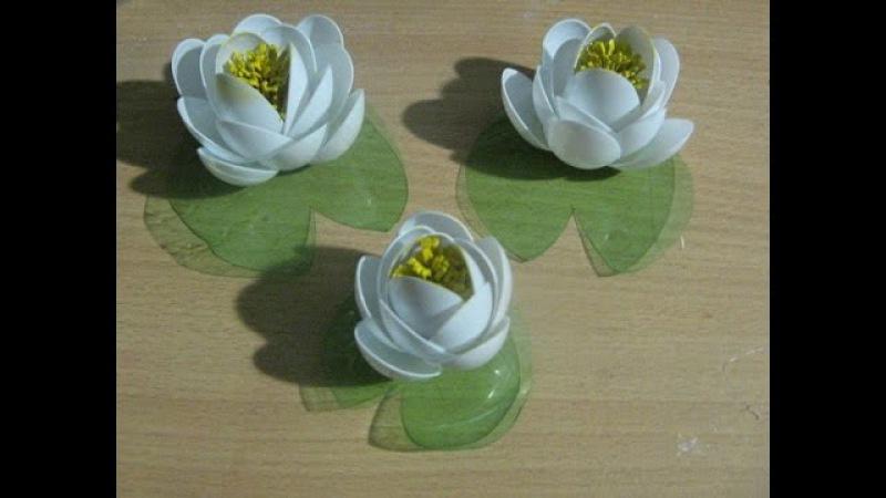 Кувшинки из одноразовых ложечек Lilies of disposable spoons