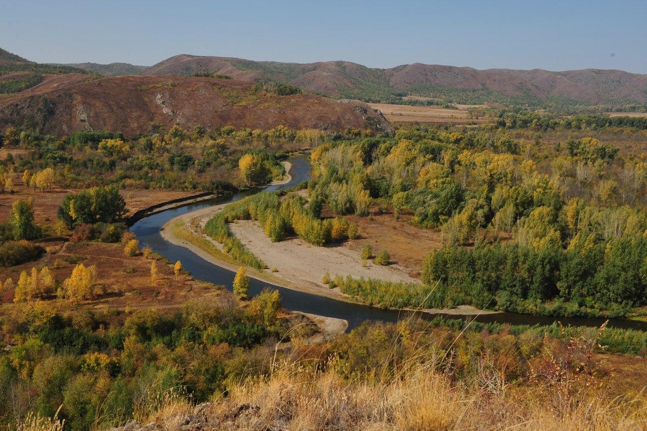 река Сакмара с вершины горы Ищумган