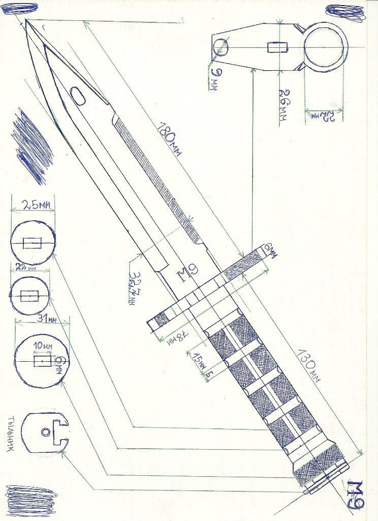 Ножик из бумаги схемы