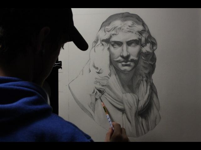 Time lapse drawing 3 Pencil cast drawing dessin du buste de Molière d'après la bosse