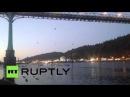 США Активисты по борьбе с Оболочка висеть моста в арктической буровой протеста.