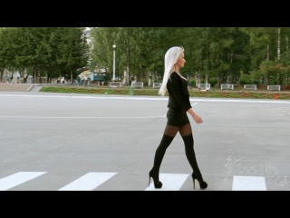 Hot blonde with confident walk