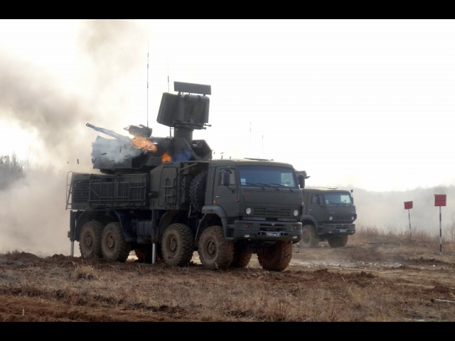 Боевые стрельбы «Панцирь-С» (Field firing Pancir-S during military exercises in Primorye)