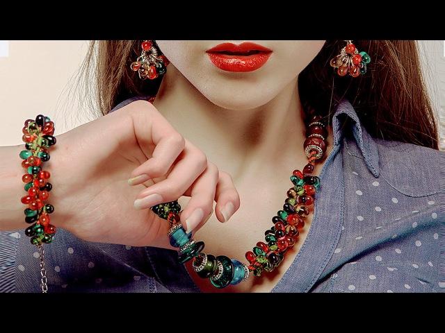 💎 Колье Самоцветы в технике Кумихимо. Мастер-класс /Tutorial: Necklace Gems. Kumihimo