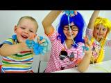 ЛИЗУН - Как сделать? Уроки Химии с Ксюшей и Настей. Смешное видео для детей