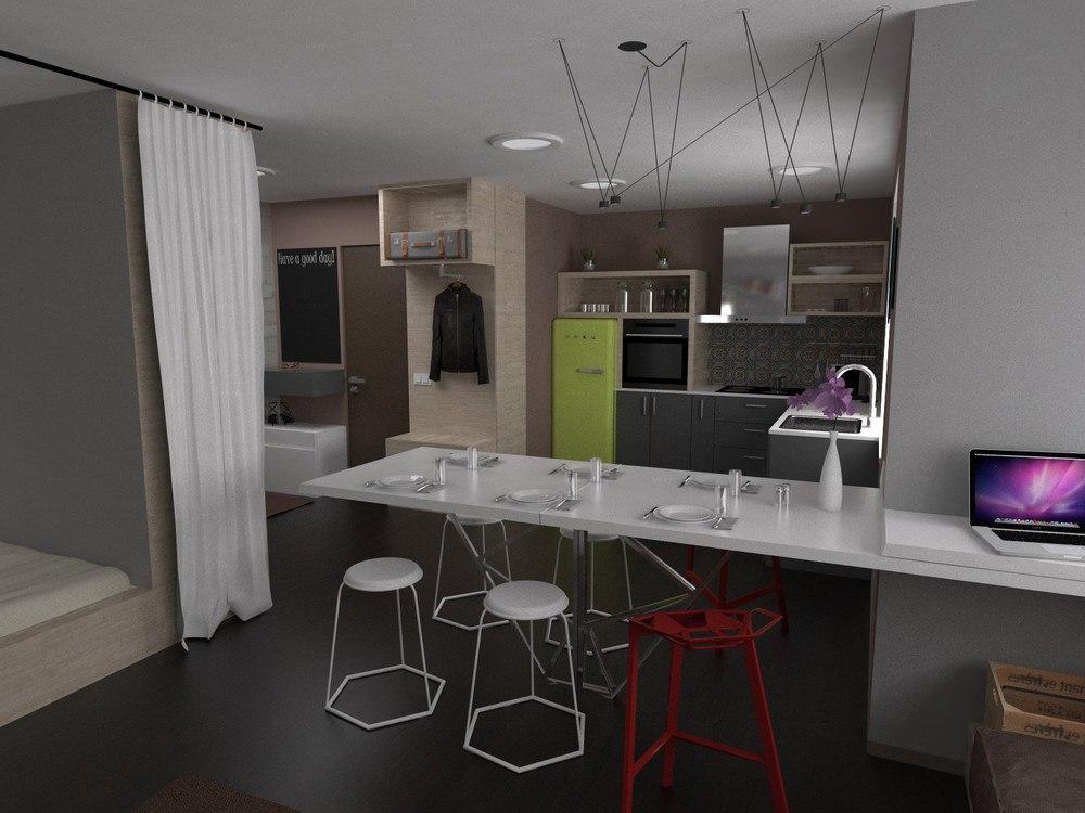 Проект перепланировки 1-комнатной квартиры в студию для молодой пары.