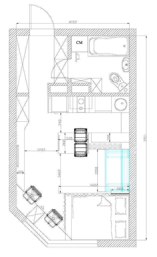 Концепт студии 28 м.