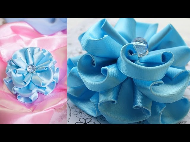 Голубой Цветок Канзаши / Пышный бант / МК / DIY / kanzashi tutorial